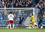 Georgia defender Akaki Khubutia scores an OG past his keeper Giorgi Loria to put Scotland 1-0 up