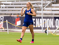HOUSTON, TX - JUNE 9: Lindsey Horan #9 of the USWNT celebrates during a training session at BBVA Stadium on June 9, 2021 in Houston, Texas.