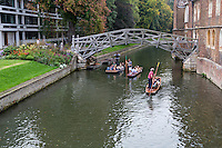 UK, England, Cambridge.  Punting on the River Cam by the Mathematical Bridge, Connecting New and Old Portions of Queen's College.