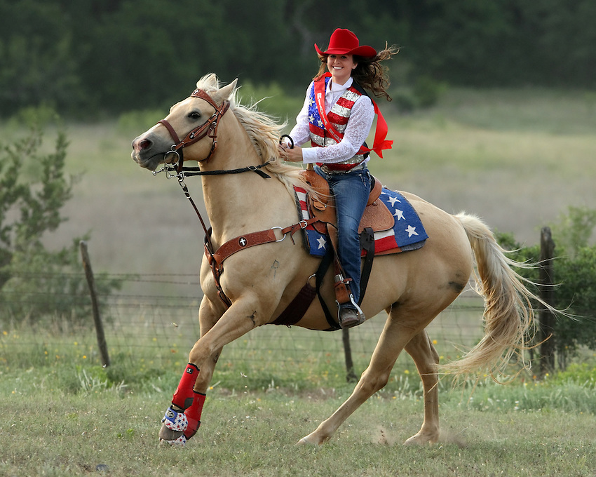 This young 16 year old woman is taking a spin outside the arena for me, prior to the rodeo. It was the last day of the 3 day 'Riata Roundup Rodeo' here in Central Texas.
