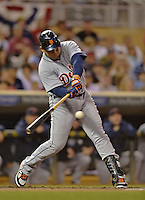 28 September 2012: Detroit Tigers third baseman Miguel Cabrera in action against the Minnesota Twins at Target Field in Minneapolis, MN. The Twins defeated the Tigers 4-2 in the first game of their 3-game series. Mandatory Credit: Ed Wolfstein Photo