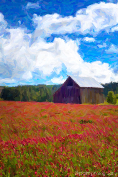 Oil paint interpretation of old Oregon barn and field of red clover