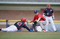 Williamsport Crosscutters first baseman Greg Pickett (8) waits to receive a pickoff attempt throw as Ricardo Cespedes (47) dives back to the bag during the first game of a doubleheader against the Batavia Muckdogs on August 20, 2017 at Dwyer Stadium in Batavia, New York.  Batavia defeated Williamsport 6-5.  (Mike Janes/Four Seam Images)