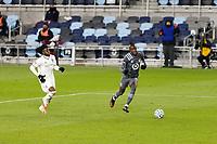 ST PAUL, MN - NOVEMBER 22: Kei Kamara #16 of Minnesota United FC attacks the ball during a game between Colorado Rapids and Minnesota United FC at Allianz Field on November 22, 2020 in St Paul, Minnesota.