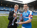 Rangers captains past and present Richard Gough and Lee Wallace with the league trophy both have now lifted