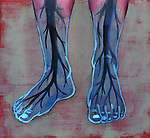 Close-up view of blue feet of diabetic person