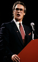"""File Photo circa 1989-1990- Montreal, Quebec  - Tom Wappel, Liberal Party of Canada leadership candidate.<br /> <br /> <br /> Thomas William """"Tom"""" Wappel (born February 9, 1950) is a Canadian politician. He was a Liberal member of the House of Commons from 1988 to 2008, representing the Toronto riding of Scarborough West and its successor riding of Scarborough Southwest. He did not seek re-election in the 2008 general election.<br /> <br /> Wappel is a staunch social conservative. He is a prominent opponent of abortion and gay rights, and has made controversial comments on immigration and the role of religion in government."""