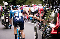 Matteo Jorgenson (USA/Movistar) getting supplies<br /> <br /> 'La Primavera' (Spring) in summer!<br /> 111st Milano-Sanremo 2020 (1.UWT)<br /> 1 day race from Milano to Sanremo (305km)<br /> <br /> the postponed edition > exceptionally held in summer because of the Covid-19 pandemic calendar reshuffle
