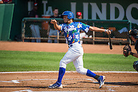 Jimy Perez (12) of the Ogden Raptors at bat against the Billings Mustangs in Pioneer League action at Lindquist Field on August 16, 2015 in Ogden, Utah. Billings defeated Ogden 6-3.  (Stephen Smith/Four Seam Images)