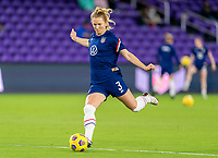 ORLANDO, FL - JANUARY 18: Samantha Mewis #3 of the USWNT takes a shot before a game between Colombia and USWNT at Exploria Stadium on January 18, 2021 in Orlando, Florida.