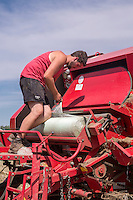 Changing the bale wrap on a Welger round baler - Norfolk, July