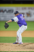 Binghamton Rumble Ponies relief pitcher Cory Burns (30) delivers a pitch during a game against the Akron RubberDucks on May 12, 2017 at NYSEG Stadium in Binghamton, New York.  Akron defeated Binghamton 5-1.  (Mike Janes/Four Seam Images)