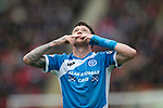 Aberdeen v St Johnstone…29.04.17     SPFL    Pittodrie<br />Danny Swanson celebrates his goal<br />Picture by Graeme Hart.<br />Copyright Perthshire Picture Agency<br />Tel: 01738 623350  Mobile: 07990 594431