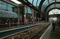 London:   Docklands.  Light Rail Station--South Quay.  Photo '90.