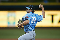 Hickory Crawdads relief pitcher Nick Starr (39) in action against the Winston-Salem Dash at Truist Stadium on July 10, 2021 in Winston-Salem, North Carolina. (Brian Westerholt/Four Seam Images)
