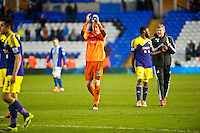 Saturday 25 January 2014<br /> Pictured: Gerhard Tremmel applauds fans after the game <br /> Re: Birmingham City v Swansea City FA Cup fourth round match at St. Andrew's Birimingham