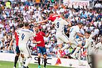 Real Madrid's player Sergio Ramos, Karim Benzema and Pepe and Osasuna's player Goran Causic and Oier Sanjurjo during a match of La Liga Santander at Santiago Bernabeu Stadium in Madrid. September 10, Spain. 2016. (ALTERPHOTOS/BorjaB.Hojas)