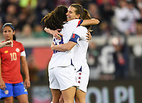 JACKSONVILLE, FL - NOVEMBER 10: Christen Press #23 and Tobin Heath #17 of the United States celebrate a goal together during a game between Costa Rica and USWNT at TIAA Bank Field on November 10, 2019 in Jacksonville, Florida.