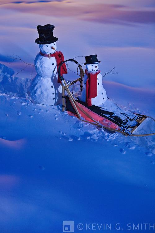 A big and little snowman riding through the snow on a dog mushing sled, twilight, glowing light, Fairbanks, Alaska, USA.