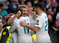01.05.2018, Football UEFA Champions League 2017/2018, semi final  Rueckspiel, Real Madrid - FC Bayern Muenchen, Bernabeu-stadium Madrid.  Karim Benzema (2.v.li, Real Madrid) and Lucas Vazquez (Real Madrid). re: Marco Asensio (Real Madrid). *** Local Caption *** © pixathlon<br /> <br /> Contact: +49-40-22 63 02 60 , info@pixathlon.de