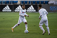 SAN JOSE, CA - NOVEMBER 04: Diego Palacios #12 of the Los Angeles FC dribbles the ball during a game between Los Angeles FC and San Jose Earthquakes at Earthquakes Stadium on November 04, 2020 in San Jose, California.