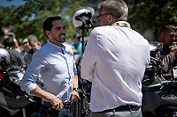 Alberto Contador (ESP) getting briefed pre-race about safety issues as he will be on an in-race moto (as commentator for Eurosport) for the every first time ever...<br /> <br /> Stage 5: Saint-Dié-des-Vosges to Colmar(175km)<br /> 106th Tour de France 2019 (2.UWT)<br /> <br /> ©kramon