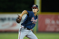 Danville Braves relief pitcher Ben Libuda (30) in action against the Burlington Royals at Burlington Athletic Park on August 13, 2015 in Burlington, North Carolina.  The Braves defeated the Royals 6-3. (Brian Westerholt/Four Seam Images)