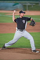 Grand Junction Rockies starting pitcher Gavin Glanz (27) delivers a pitch to the plate against the Ogden Raptors in Pioneer League action at Lindquist Field on July 6, 2015 in Ogden, Utah. Ogden defeated Grand Junction 8-7. (Stephen Smith/Four Seam Images)