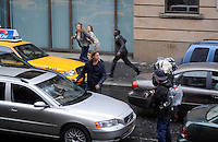 Brad Pitt on set in Glasgow during Thursday's filming for his film World War Z  in George Square, Scotland..Picture: Stephen Chandler Universal News And Sport (Scotland). 18 August 2011. www.unpixs.com..