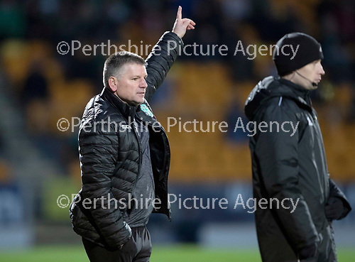 St Johnstone v Hibs…..09.11.19   McDiarmid Park   SPFL<br />Caretaker Hibs boss Eddie May points the way<br />Picture by Graeme Hart.<br />Copyright Perthshire Picture Agency<br />Tel: 01738 623350  Mobile: 07990 594431