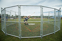 Nathan Burchett competes in the light hammer throw during the 2015 Alaska Scottish Highland Games at the Palmer fairgrounds.