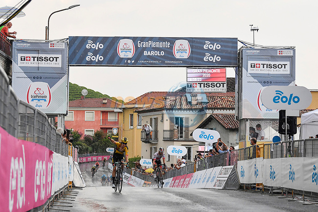 George Bennett (NZL) Team Jumbo-Visma stays ahead of Diego Ulissi (ITA) UAE Team Emirates to win the 104th edition of GranPiemonte 2020, running 187km from Santo Stefano Belbo to Barolo, Italy. 12th August 2020.<br /> Picture: LaPresse/Fabio Ferrari | Cyclefile<br /> <br /> All photos usage must carry mandatory copyright credit (© Cyclefile | LaPresse/Fabio Ferrari)