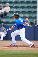 Biloxi Shuckers outfielder Kyle Wren (11) at bat during a game against the Birmingham Barons on May 24, 2015 at Joe Davis Stadium in Huntsville, Alabama.  Birmingham defeated Biloxi 6-4 as the Shuckers are playing all games on the road, or neutral sites like their former home in Huntsville, until the teams new stadium is completed in early June.  (Mike Janes/Four Seam Images)