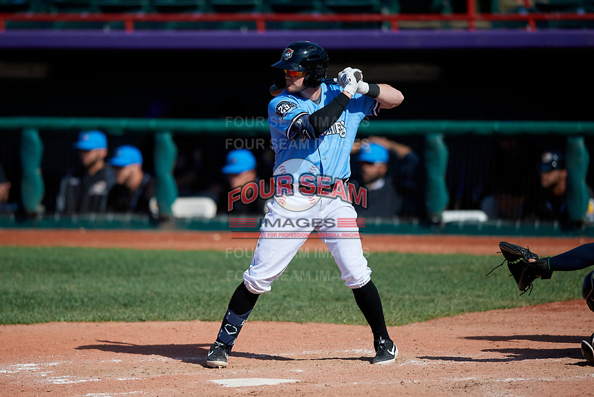 Erie SeaWolves Kody Eaves (22) at bat during an Eastern League game against the Akron RubberDucks on June 2, 2019 at UPMC Park in Erie, Pennsylvania.  Erie defeated Akron 8-5 in eleven innings in the second game of a doubleheader.  (Mike Janes/Four Seam Images)