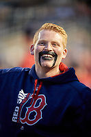 Pawtucket Red Sox Clark Shirley, who lost a bet and had to wear face paint, during a game against the Buffalo Bisons on May 19, 2017 at Coca-Cola Field in Buffalo, New York.  Buffalo defeated Pawtucket 7-5 in thirteen innings.  (Mike Janes/Four Seam Images)