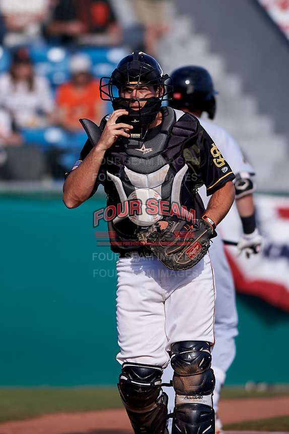 San Jose Giants catcher John Riley (15) during a California League game against the Visalia Rawhide on April 13, 2019 at San Jose Municipal Stadium in San Jose, California. Visalia defeated San Jose 4-2. (Zachary Lucy/Four Seam Images)