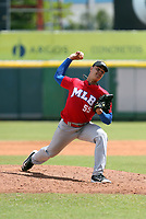 Osiel Rodriguez participates in the MLB Showcase at the Estadio Quisqeye Juan Marichal on February 21-22, 2018 in Santo Domingo, Dominican Republic.