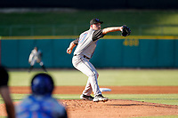 Rocket City Trash Pandas starting pitcher Reid Detmers (10) delivers a pitch to the plate against the Tennessee Smokies at Smokies Stadium on June 12, 2021, in Kodak, Tennessee. (Danny Parker/Four Seam Images)