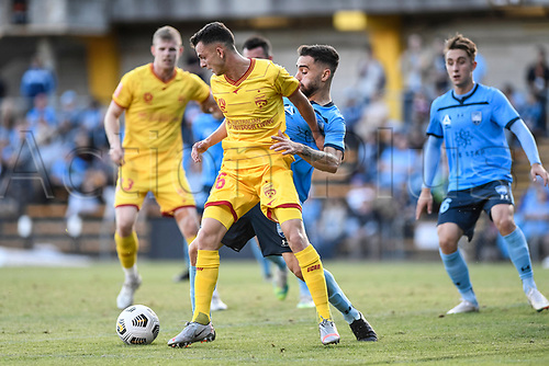 18th April 2021; Leichardt Oval, Sydney, New South Wales, Australia; A League Football, Sydney Football Club versus Adelaide United; Louis D'Arrigo of Adelaide United under pressure from Anthony Caceres of Sydney