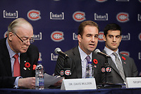Montreal  (Quebec) CANADA - Nov 2011 File Photo - Hockey Player Max Pacioretty annonce he <br />  return to Hockey<br />  after a major injury.<br /> <br /> Dr David Mulder (L), Geoff Molson (M), <br /> Max Pacioretty  (R)