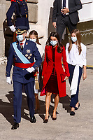 MADRID, SPAIN- October 12:  **NO SPAIN** King Felipe VI of Spain, Queen Letizia of Spain, Crown Princess Leonor, Princess Sofia attends The National Day Military Parade at Royal Palace on October 12, 2020 in Madrid, Spain. <br /> CAP/MPI/RJO<br /> ©RJO/MPI/Capital Pictures
