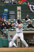 Myrtle Beach Pelicans infielder David Bote (15) at bat during a game against the Frederick Keys at Ticketreturn.com Field at Pelicans Ballpark on April 10, 2016 in Myrtle Beach, South Carolina. Myrtle Beach defeated Frederick 7-5. (Robert Gurganus/Four Seam Images)