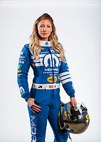 Feb 6, 2020; Pomona, CA, USA; NHRA top fuel driver Leah Pruett poses for a portrait during NHRA Media Day at the Pomona Fairplex. Mandatory Credit: Mark J. Rebilas-USA TODAY Sports