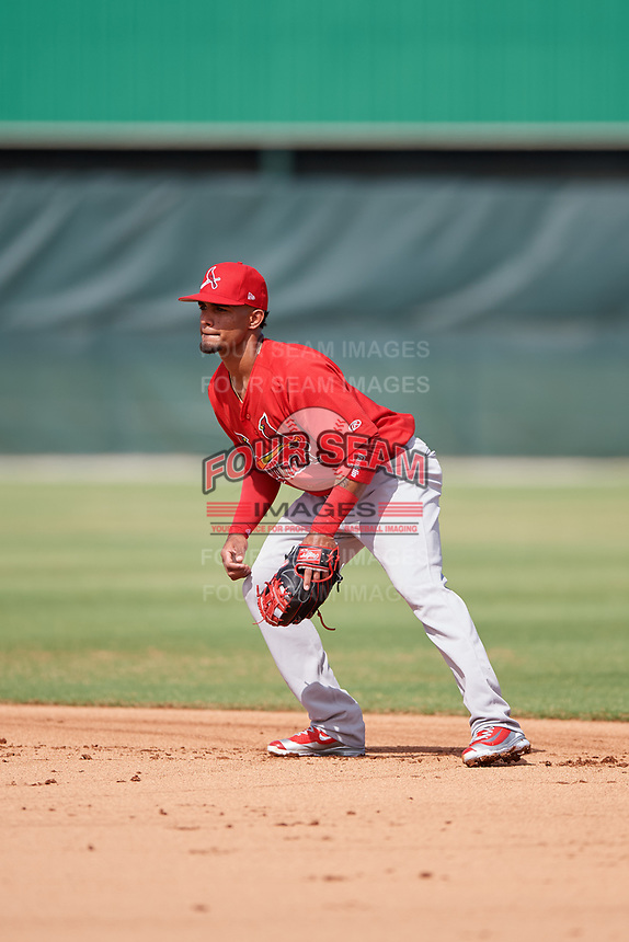 GCL Cardinals second baseman Eliezer Alvarez (13) during a game against the GCL Mets on July 23, 2017 at Roger Dean Stadium Complex in Jupiter, Florida.  GCL Cardinals defeated the GCL Mets 5-3.  (Mike Janes/Four Seam Images)