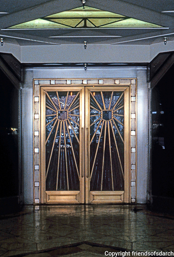 "Los Angeles: Oviatt Building--Doors. 1927-28, Walker & Eisen. Glorious Art Deco! (now 1989, ""Rex-il Ristorante"")"