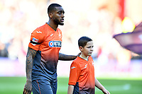 Leroy Fer of Swansea City walks out with a young mascot during the Sky Bet Championship match between Aston Villa and Swansea City at Villa Park in Birmingham, England, UK.  Saturday 20 October  2018