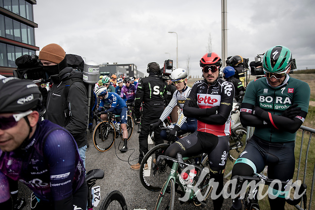 John Degenkolb (DEU/Lotto-Soudal) waiting for the race to start.<br /> Due to the grim weather conditions (fearce winds) the race start was done without any ceremonial obligations (and due to Covid19) on an industrial site outside Terneuzen<br /> <br />  109th Scheldeprijs 2021 (ME/1.Pro)<br /> 1 day race from Terneuzen (NED) to Schoten (BEL): 194km<br /> <br /> ©kramon