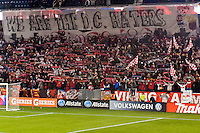 New York Red Bulls fans. D. C. United defeated the New York Red Bulls 1-0 (2-1 in aggregate) during the second leg of the MLS Eastern Conference Semifinals at Red Bull Arena in Harrison, NJ, on November 8, 2012.