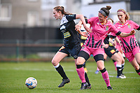 Loes Van Mullem (33) of Eendracht Aalst pictured fighting for the ball with Madison Hudson (8) of Sporting Charleroi during a female soccer game between Eendracht Aalst and Sporting Charleroi on the 18 th and last matchday before the play offs of the 2020 - 2021 season of Belgian Scooore Womens Super League , Saturday 27 th of March 2021  in Aalst , Belgium . PHOTO SPORTPIX.BE | SPP | DAVID CATRY