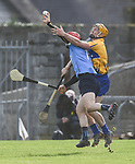Ryan Dwyer of Dublin in action against Cian Dillon of Clare during their National Hurling League game at Cusack Park. Photograph by John Kelly.